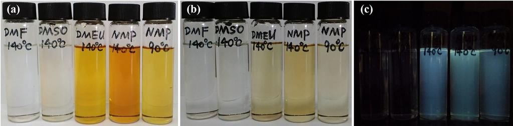 S3 (a) Typical digital photograpghs of DMF, DMSO, DMEU, NMP after the solverthermal treatment