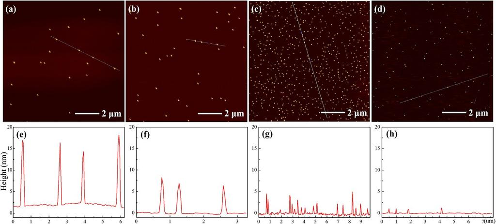 Fig. S4 Time-resolved AFM images of N-CDs. (a,e) corresponds to the products at 0.