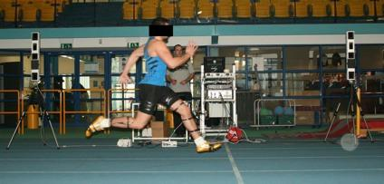 Figure 3 Current application of StrideSense for the investigation of contact time and velocity in sprinting, with CODA scanners being used to provide foot contact time validation data (Bezodis et al.