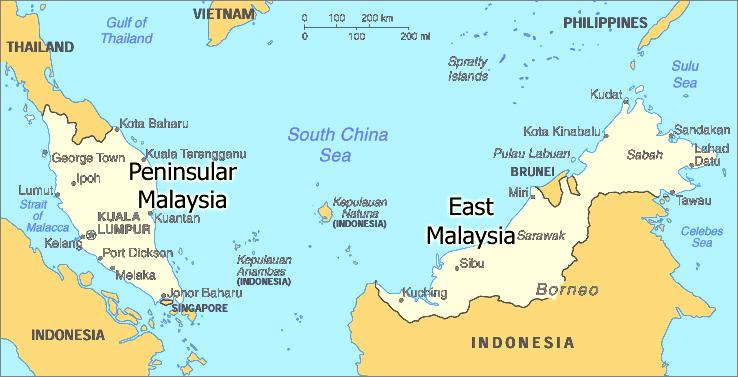 1.0 Overview of the Fisheries Sector in Malaysia IUU Fishing East Coast of Peninsular Malaysia Figure 1.1: Map of Malaysia 1.
