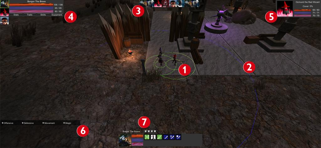 GUMMS Figure 4: Game Interface 1. The characters: The characters the player controls. The green circles around the characters show their minimum and maximum attack ranges. 2.