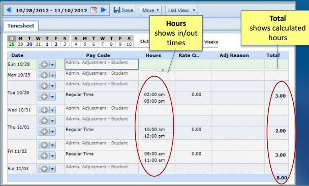 UD Time Viewing Your Timesheet From the WebClock page you will click Timesheet In this view you will be able to see: The clock in and out hours Total number of hours
