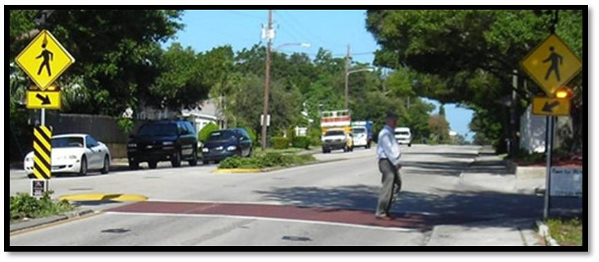 pedestrian crossings by increasing driver awareness of potential pedestrian conflicts.