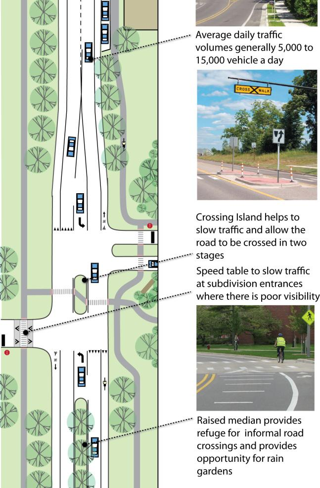 The roadway will have design elements such as frequent mid-block crossings,