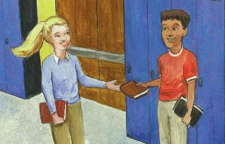 In the hall, Tammy bumped into a tall boy. Books spilled out of her arms. Sorry!