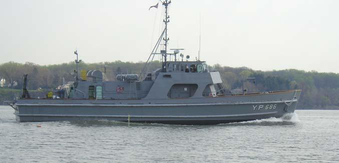 The vessel used in the trials is a small naval training vessel owned by the Naval Academy, the YP686, shown in Figure 5. This vessel has a waterline length L=31.1m, a maximum beam B=6.