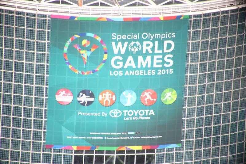 LA2015: SPORTS & VENUES The giant World Games banner atop the
