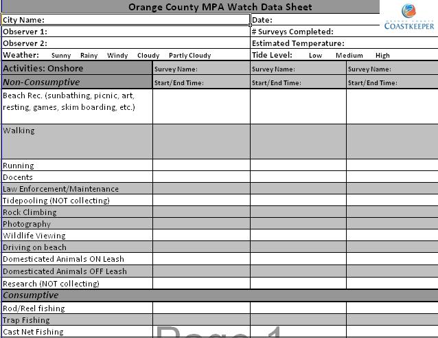 Image 1: Example of datasheet. Each survey segment is selected within an MPA at strategic locations. Survey segments vary in size; but all surveys are one half hour in length.