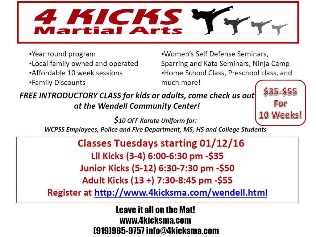 Page 5 The Wendell Buzz Martial Arts New Session of 4 Kicks Martial Arts. Lots of Fun at a cheap price for Martial Arts.