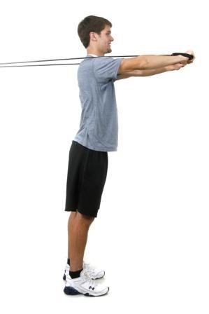 Chest Press Anchor: Mid, chest height Start: Stand with your back to the door, tubing in both hands, arms