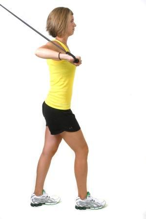 Movement: Using the chest muscle, press arms straight forward to in front of the chest.