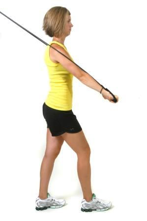 Decline Chest Press Anchor: High, top of door Start: Stand with your back to the door, tubing in both