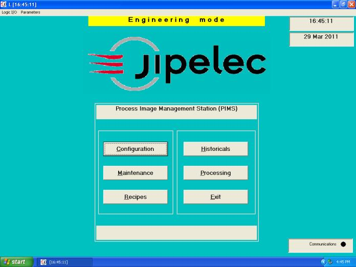 4.2.4 To select an existing recipe to run, select the Processing button (Fig. 4.3.4a) from the jipelec main page.