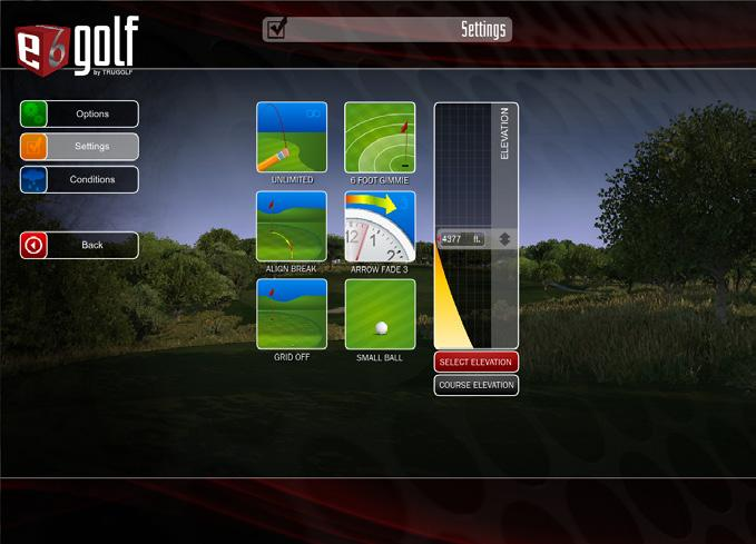 Random WIND - No Wind, Breezy, Windy or Strong Wind GREEN HARDNESS - Soft, Moderate or Hard GREEN SPEED - Slow, Medium or Fast FAIRWAY HARDNESS - Soft, Moderate or Hard EXIT: Exit E6Golf Select