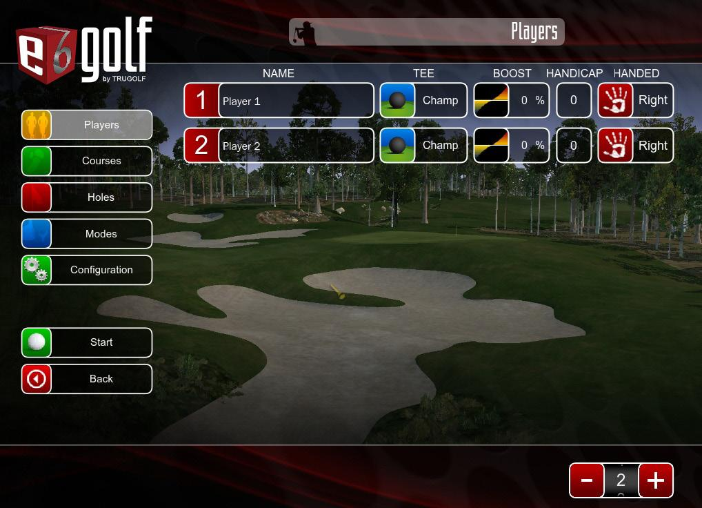 STARTING A NEW ROUND 4 STARTING A NEW ROUND 1 2 From the opening screen, select PLAY GOLF. Select PLAYERS. NOTE: This is automatically selected when the screen first appears.