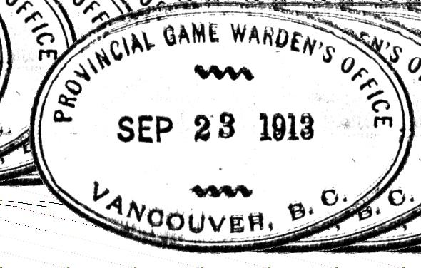 1909 Williams' position was renamed Provincial Game Warden as he had never really undertaken any forestry duties, as fire protection was a Dominion responsibility, and timber cruising and sales were