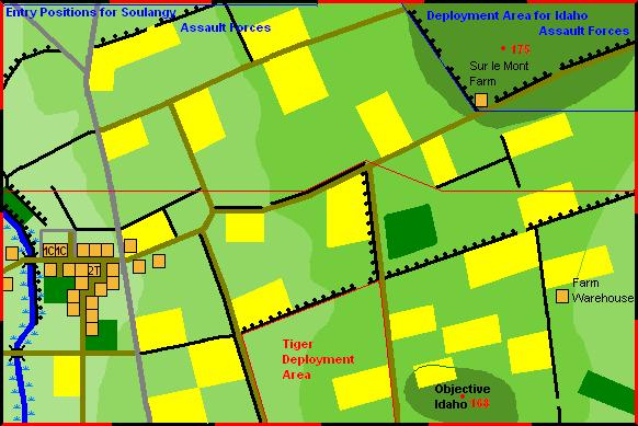 Map & Terrain The battle area was: The playing area is 6 x 4 and north is the top table edge.. All buildings are stone except the Farm Warehouse which is wooden.