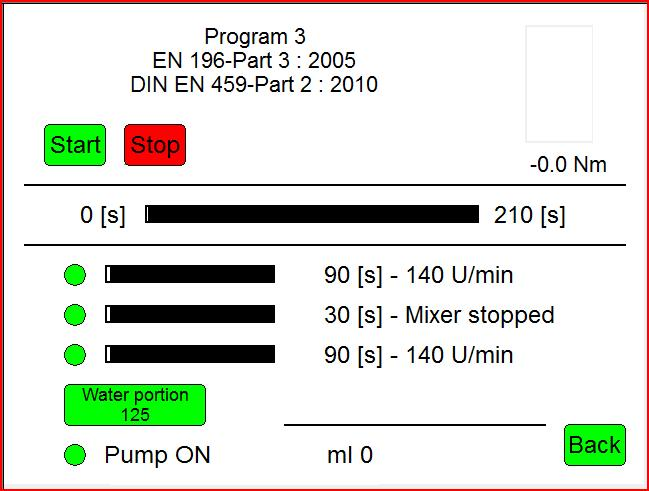 5 Program 3 EN 196-Part 3 and EN 459-Part 2 This program is mixing mortar according to European Norm (EN). For details, please consult the respective EN description.