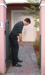 have hit the bag. This promotes proper extension and release. It also helps encourage the proper weight shift. Walkway This can be the walk-through space in your hedges or any walkway.