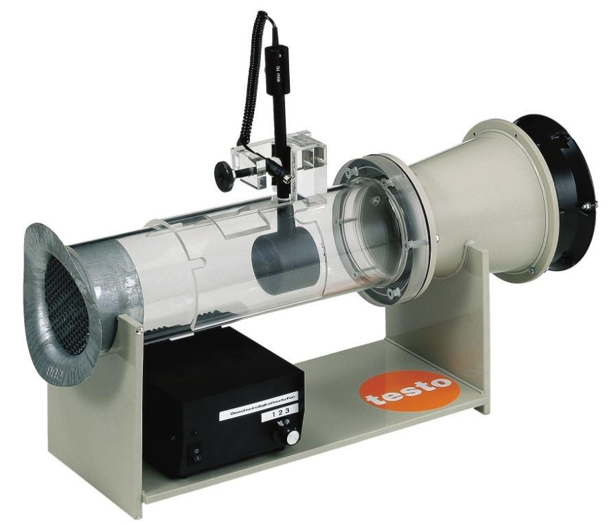 Velocity The basic requirement for calibrating velocity measuring instruments and probes is a defined air flow. For this purpose different wind tunnels are used e.g. small, portable tunnels as well as large, highly accurate tunnels for calibrations in the laboratory.