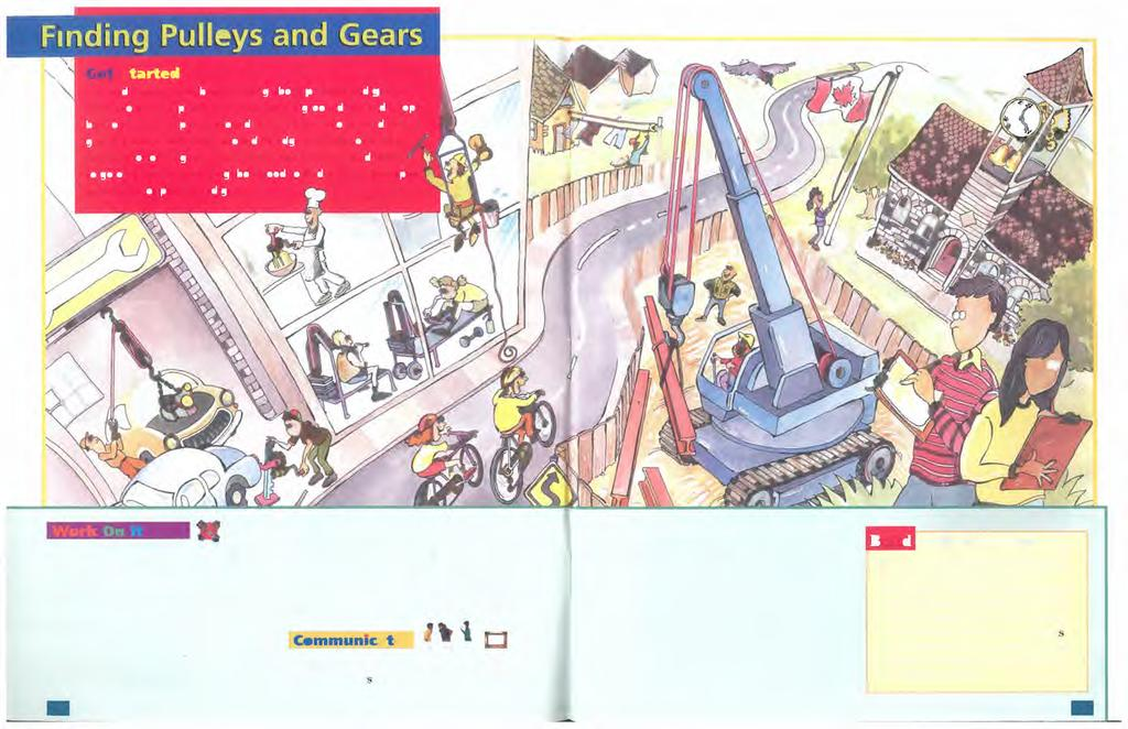 1. In a small group, list all the examples of pulleys and gears that you see in the illustration. How are structures used to support the pulleys? 2. Look at the examples of pulleys you recorded.