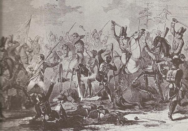 Battle Tarleton sent Captain David Kinlock forward to the rebel column, carrying a white flag, to demand Buford's surrender.