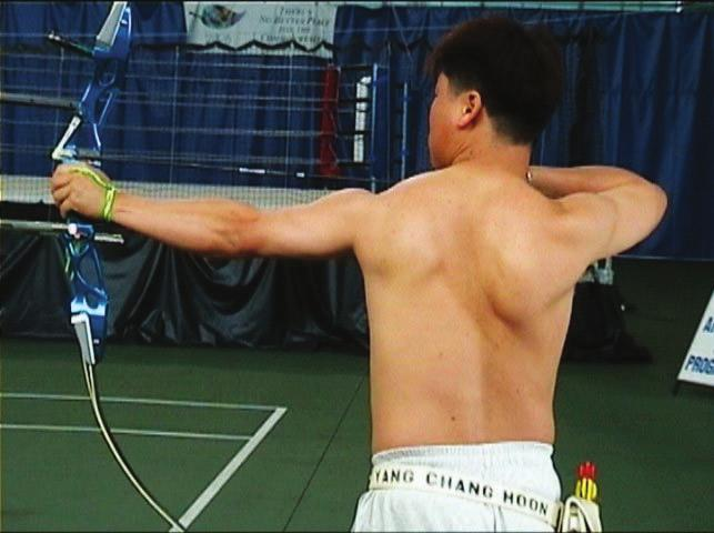 TOTAL ARCHERY 5 _The Shoulders Both shoulders must stay down as much as possible. Refer picture no.11 below. Photo No.