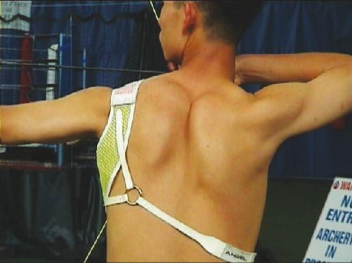 TOTAL ARCHERY when viewed from the side. When viewed from behind, the elbow should be in line with the arrow.