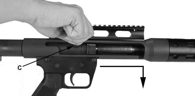 ^ WARNING Risk of serious injury or death. After performing step 6, the firearm is loaded and will fire if the safety selector is set to FIRE and the trigger is pulled.