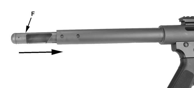 Figure 32 3. Install firing pin (E) and bolt (D) into upper receiver. See figure 33.