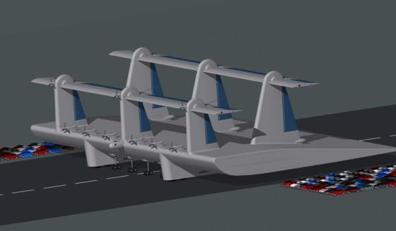Ro Ro 320 automobiles in 20 channels. The cargo airfoil pod has a 200 ft.
