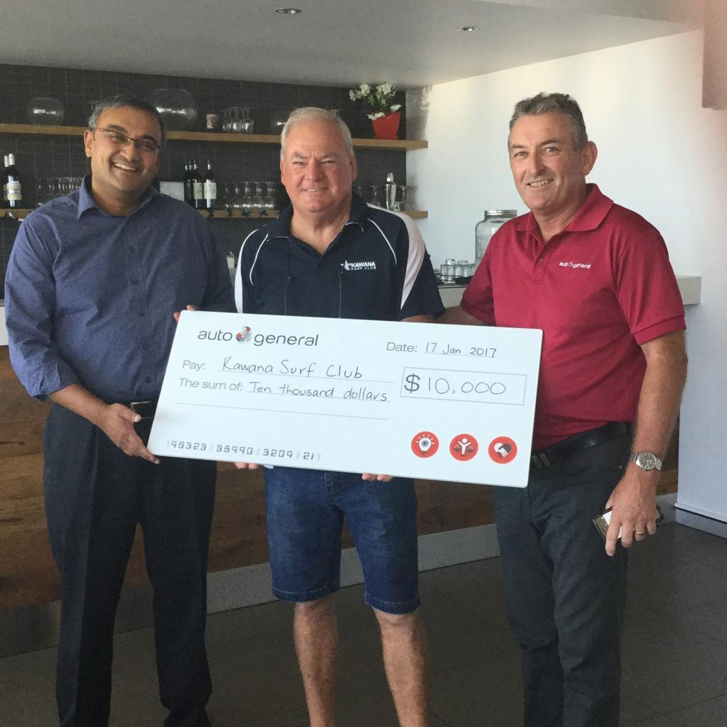 Kawana Waters Surf Life Saving Club Sponsorship Picture of Bob doing presentation to Budget Direct after Presentation CEO Ram Kangatharan presented Bob with a cheque for $10000 along with announcing