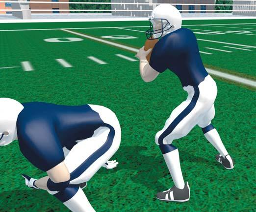 S E C T I O N I I I OFFENSIVE SKILLS QUARTERBACKS 3-STEP DROP Take first step with the foot on the side of throwing arm. Next is a crossover step with other foot.