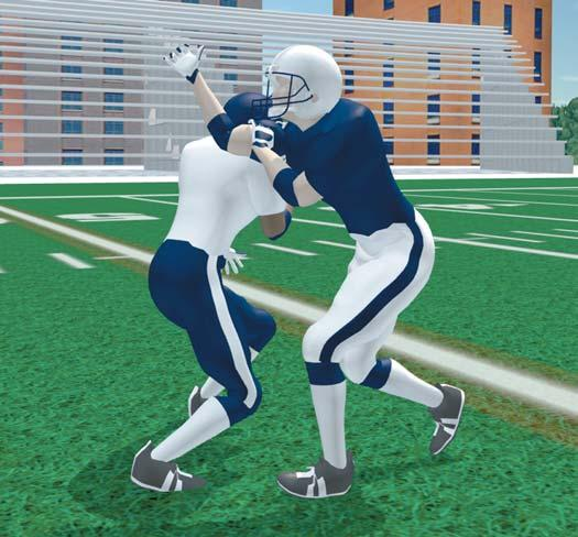 Take a long second step with outside foot. Drive outside hand and arm into outside-under part of defender s shoulder pad. Push shoulder and arm up. Step outside of defender with inside foot.