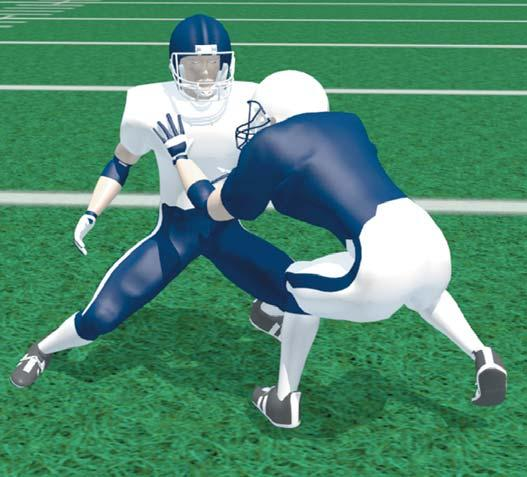 Stay low and aim to get under defender s shoulder pads. Anticipate forward movement of defender. Keep head in front of defender. Position body into the side of defender on second step.