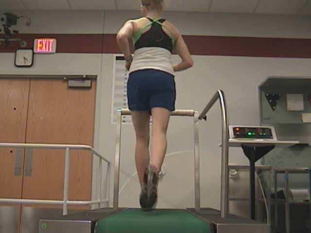 treadmill 1-2 min period of adjustment 50+% decrease reported in symptoms during