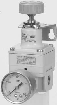 Precision Regulator Series // and pressure gauge can be mounted from directions Mounting is possible on either the front or the back.