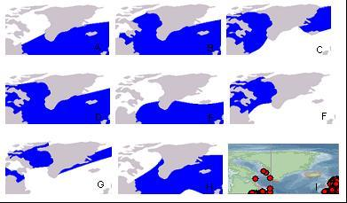 Distribution of whales and dolphins commonly occurring in Greenlandic waters A: blue,