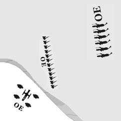 The artillery can fire through its own allied skirmishers to attack the enemy infantry beyond. All three units are on the same elevation. The infantry has advanced to within 12 inches of the cavalry.