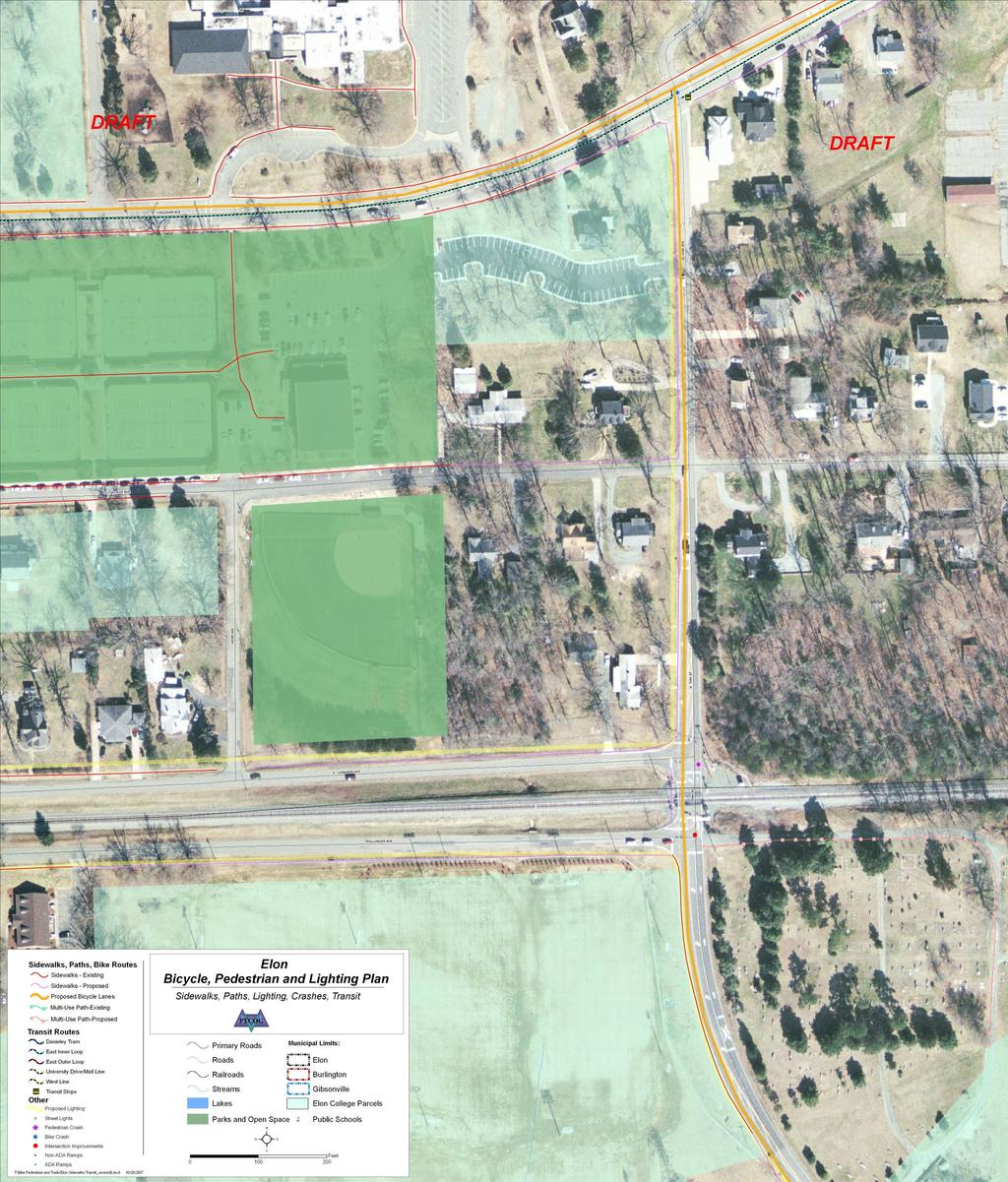 The intersection of Oak Street and the North Carolina Railroad generates some pedestrian traffic and is proposed for intersection improvement.