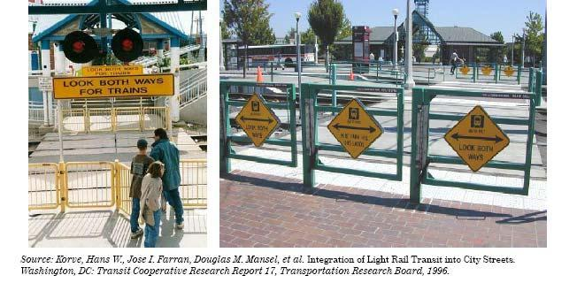 Figure 5 Pedestrian Swing Gate Examples is not applicable for any applications in Elon, but is more appropriate for light rail crossings at station locations.