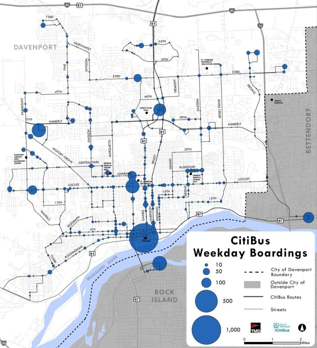 System Ridership Boardings concentrated at key shopping areas, schools, and transfer locations Strong activity on Locust St.