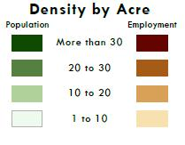 Population & Employment Density (2010) Higher Density Areas Downtown Locust St Kimberly Rd East 53 rd St Density