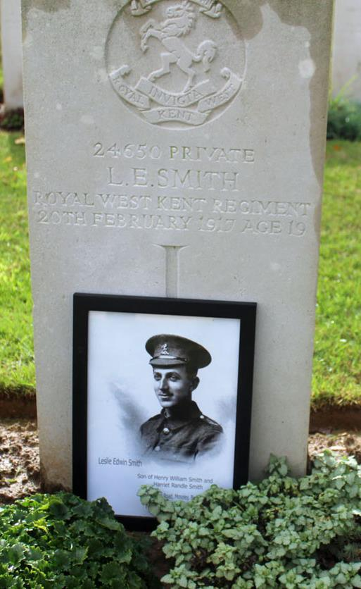 The Dernancourt Communal Cemetery Extension where Leslie is buried was the site of the Casualty Clearing Station at the time of his death.