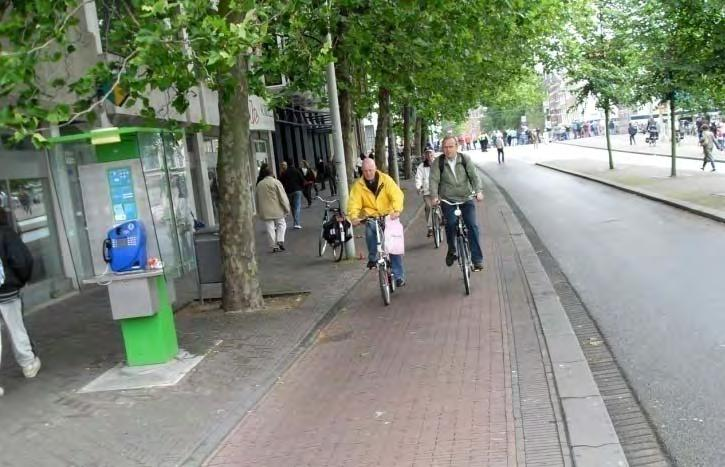 Cycle track (n): A bicycle path along a road, physically separated from motor traffic, and distinct from the sidewalk.