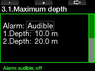 2.3.1 Setting the maximum dual depth alarm In Apnea mode all alarms can be either audible or disabled. After enabling the maximum depth alarm the limits can be selected.