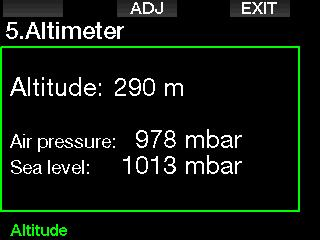 2.5 Altimeter Here you can check your current elevation. In the altitude menu, the current altitude is calculated from the barometric pressure.
