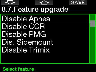 2.8.13 eature upgrade eatures that enhance your G2 s capabilities, but that are not initially enabled, are listed in this menu.