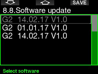 Select the software version and press the SAVE button to proceed with the update.