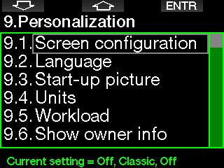 2.9 Personalization Here are the settings related to customization. You can select different screen configurations, color, language, owner and emergency info, along with workload and units. 2.9.2 Language In this menu you can set the language used for all texts displayed on the computer.